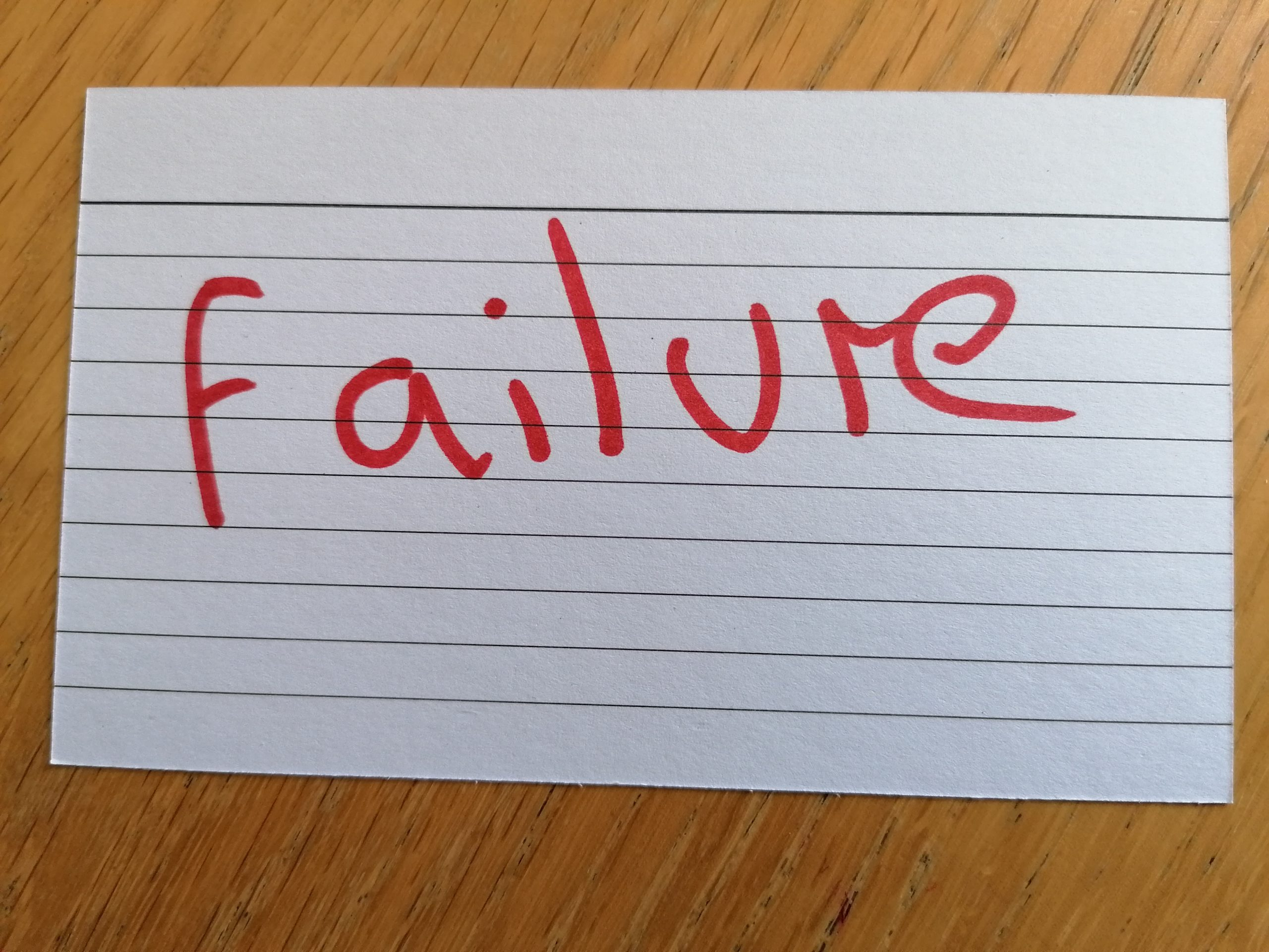 """Let's keep the word """"failure"""" in our vocabulary"""